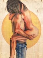Love Scene 48 x 36 Pencil on Wood